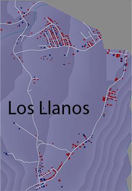 Crecimiento edificios Los Llanos, azul edificios 2003, rojo 2013.