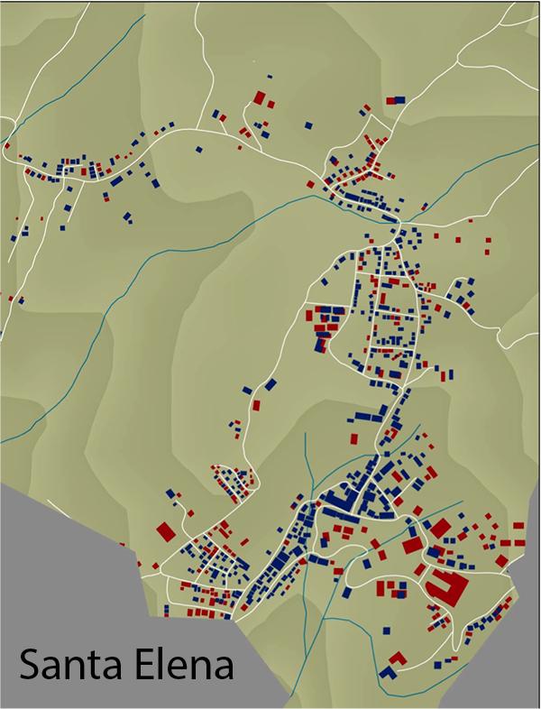 Crecimiento de edificios en Santa Elena, azul edificios 2003, y en rojo 2013.