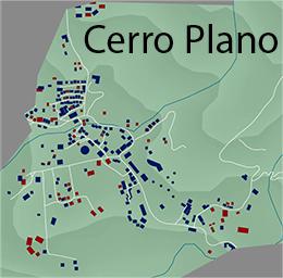 Aumento de edificios en Cerro Plano. Rojo edificios en el 2003, y en azul en el 2013