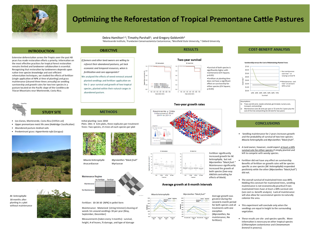 "Poster: "" Optimizing the reforestation of tropical premontane cattle pasture through fertilization and grass maintenance"".    Afiche:   ""Optimizando la reforestación de portrero tropical premontano a través de fertilización y mantenimiento"".                                  Normal     0                     false     false     false         EN-US     JA     X-NONE                                                                                                                                                                                                                                                                                                                                                                                                                                                                                                                                                                                                                                                                                                               /* Style Definitions */ table.MsoNormalTable 	{mso-style-name:""Table Normal""; 	mso-tstyle-rowband-size:0; 	mso-tstyle-colband-size:0; 	mso-style-noshow:yes; 	mso-style-priority:99; 	mso-style-parent:""""; 	mso-padding-alt:0cm 5.4pt 0cm 5.4pt; 	mso-para-margin-top:0cm; 	mso-para-margin-right:0cm; 	mso-para-margin-bottom:10.0pt; 	mso-para-margin-left:0cm; 	line-height:115%; 	mso-pagination:widow-orphan; 	font-size:11.0pt; 	font-family:Calibri; 	mso-ascii-font-family:Calibri; 	mso-ascii-theme-font:minor-latin; 	mso-hansi-font-family:Calibri; 	mso-hansi-theme-font:minor-latin;}"