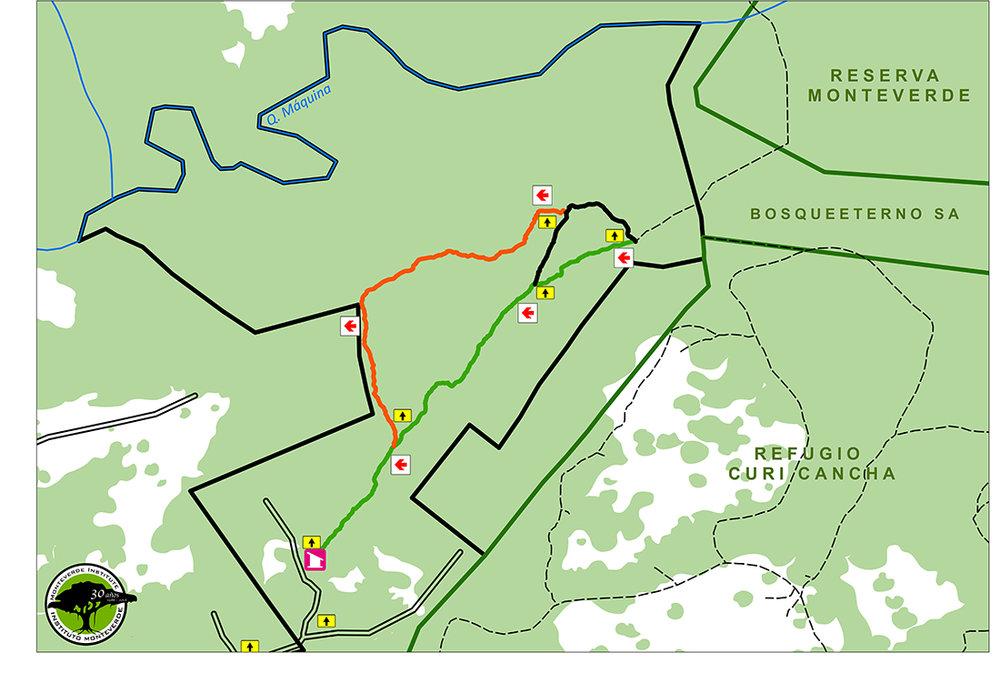 Este mapa muestra los límites de la Reserva y las propiedades vecinas.