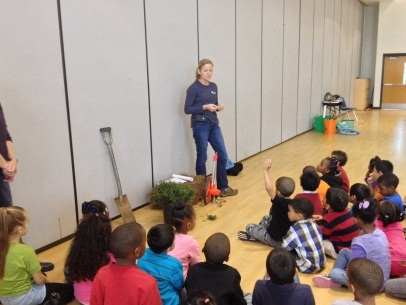 Merideth Story talks to kids at Guilford Elementary on November 25, 2013.