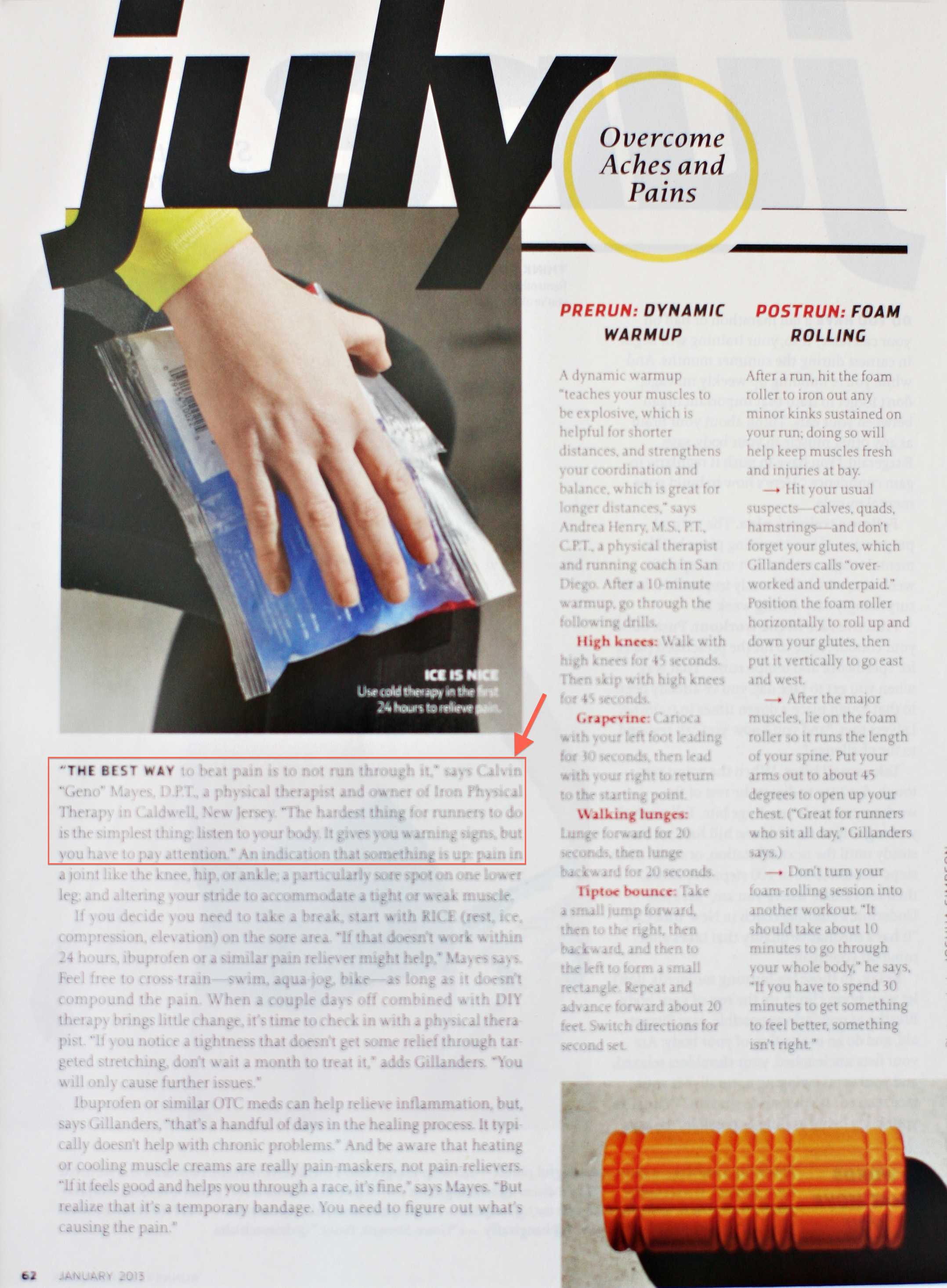 runner's world magazine quotes dr. Mayes on injury prevention