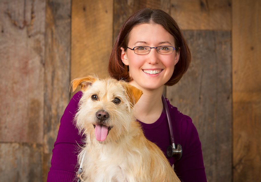 Dr. Theresa Hover and her dog Pippin.
