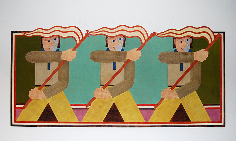 Barry Lett The Flagbearers Acrylic on ply 1680 x 3510 mm