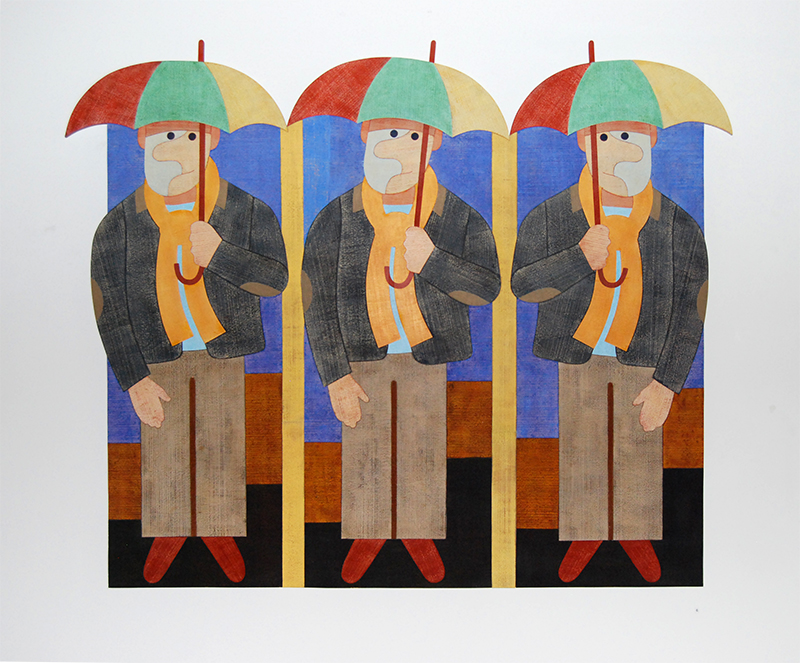 Barry Lett The Umbrellas Acrylic on ply 1625 x 1809 mm