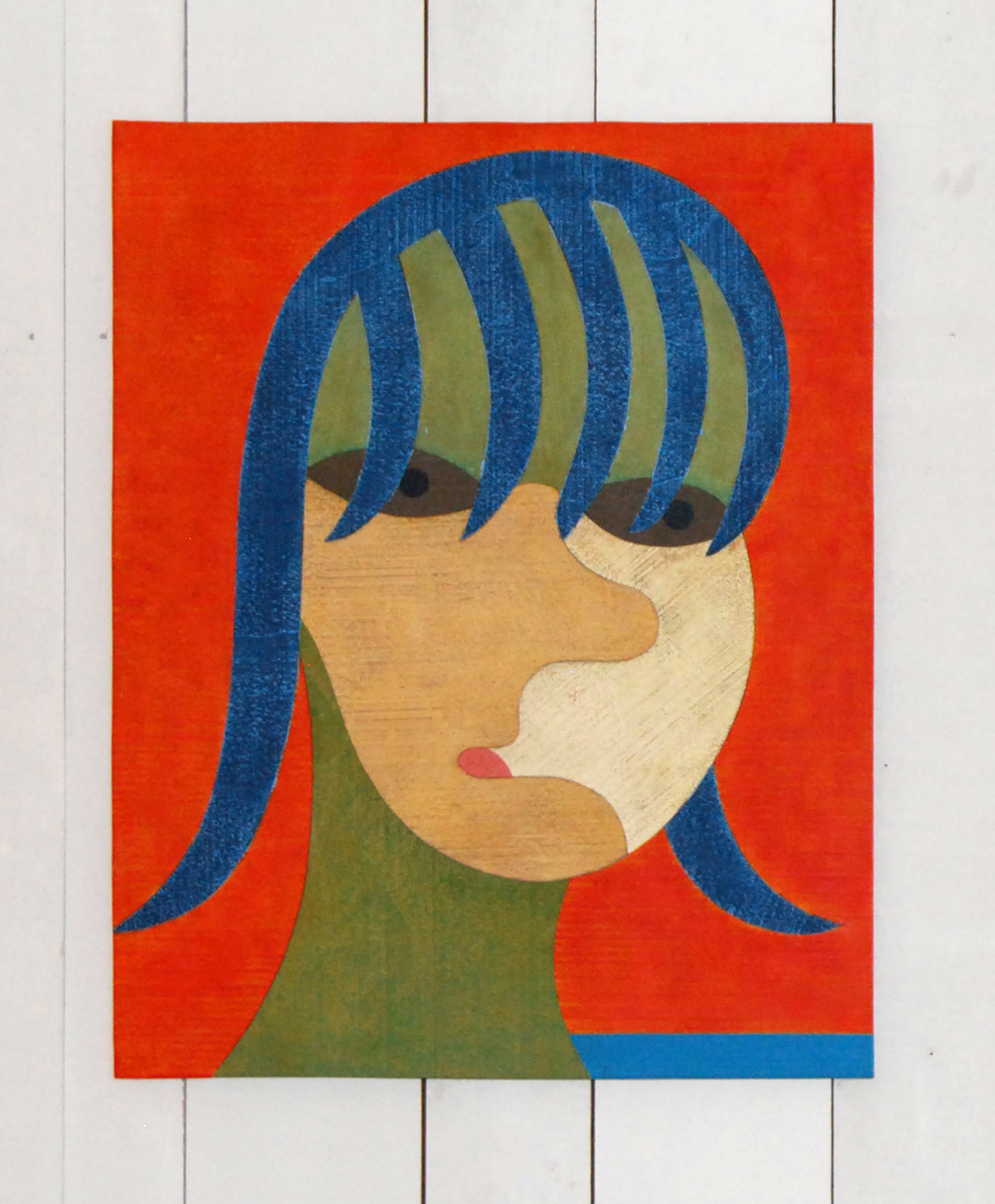 Barry Lett Girl With Blue Fringe Acrylic paint on ply 760 x 610 mm