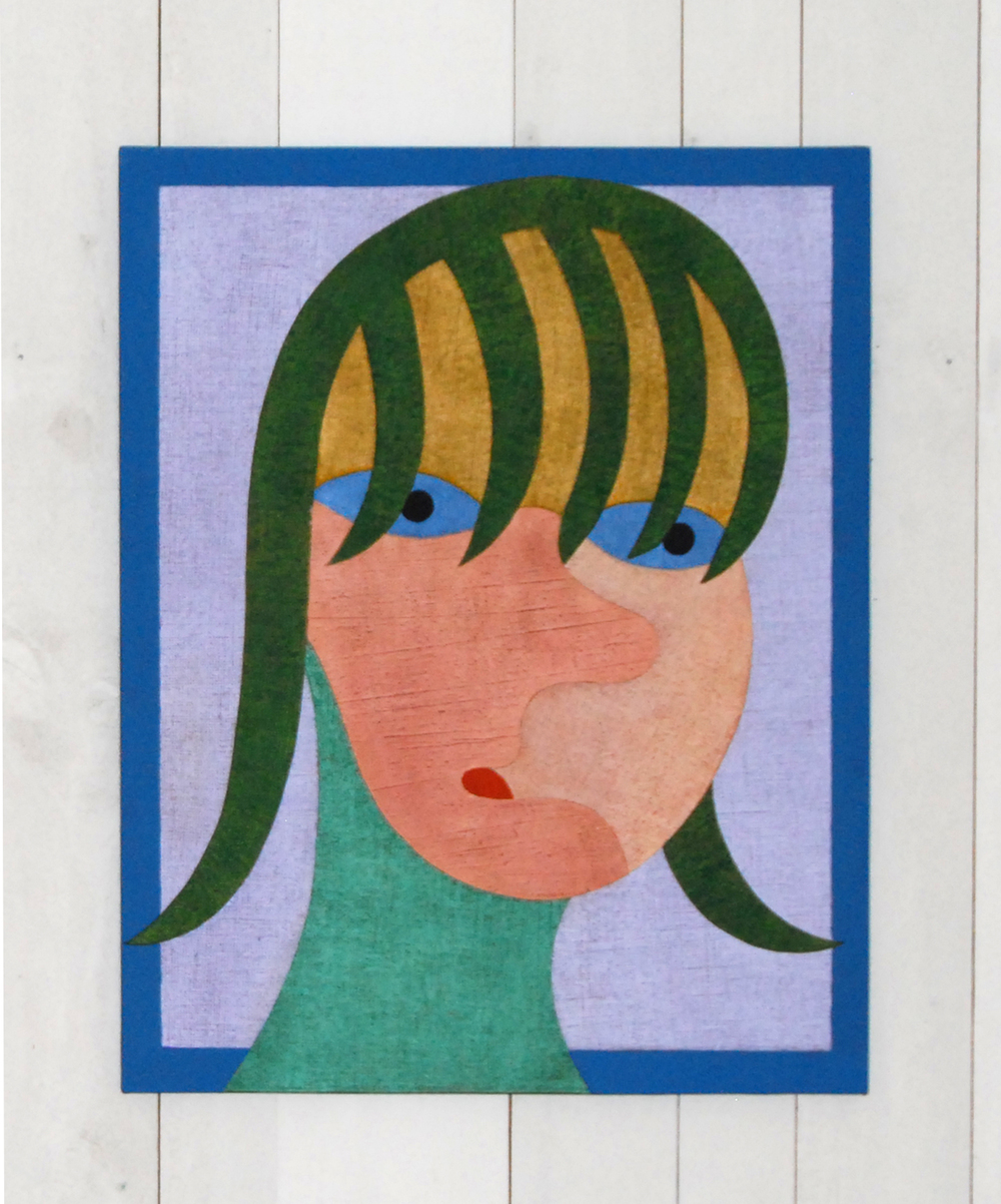 Barry Lett Girl with Green Fringe Acrylic paint, cotton on board 770 x 610 mm