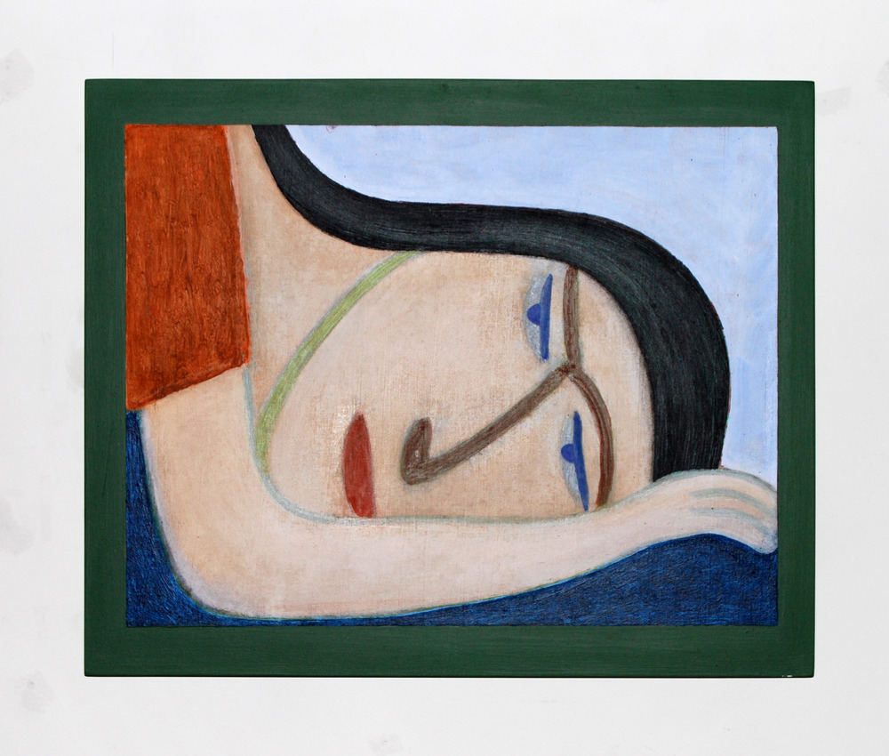 Barry Lett Resting Head Acrylic paint, cotton on board 440 x 530 mm