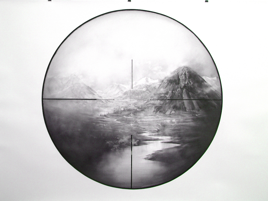 Friedrich and the deerhunter 2014, 1400mm 2000mm Diameter 1220, $8000 Charcoal on paper.jpg