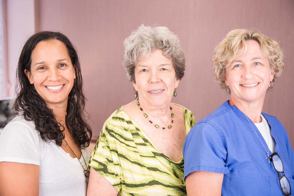 Pictured left to right: Janet Fedullo, Certified Nurse Midwife & IBCLC (Lactation Consultant), Margaret Strickhouser, Certified Nurse Midwife & Owner of Intown Midwifery, and Michelle Arp, Certified Nurse Midwife