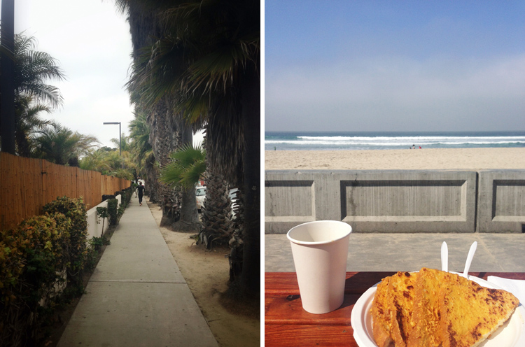 Barefoot surfer running down Pacific Beach Dr // Black coffee & Capt. Crunch French Toast at Woody's on PB Boardwalk