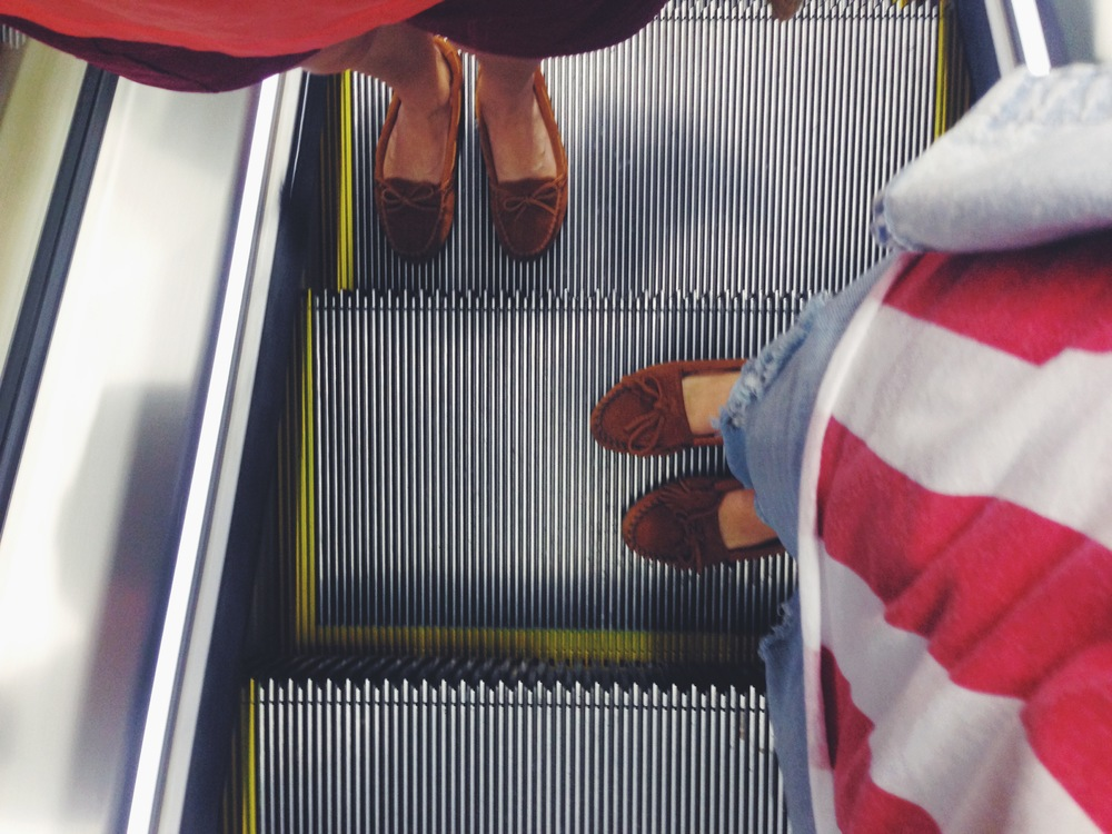 Just two native American spirits on an escalator