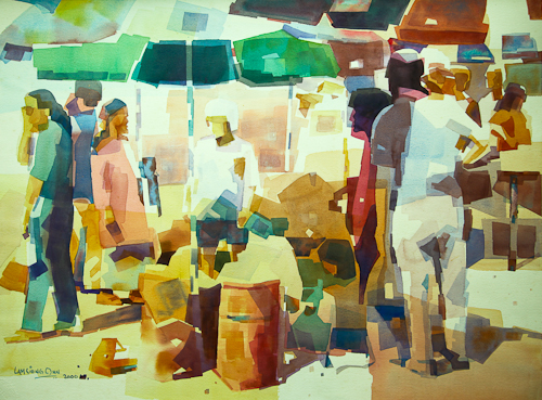 Sunday Morning Market,  56 x 76 cm