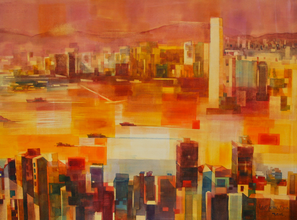 Sunset on Victoria Harbour,   2014, 56 x 76 cm