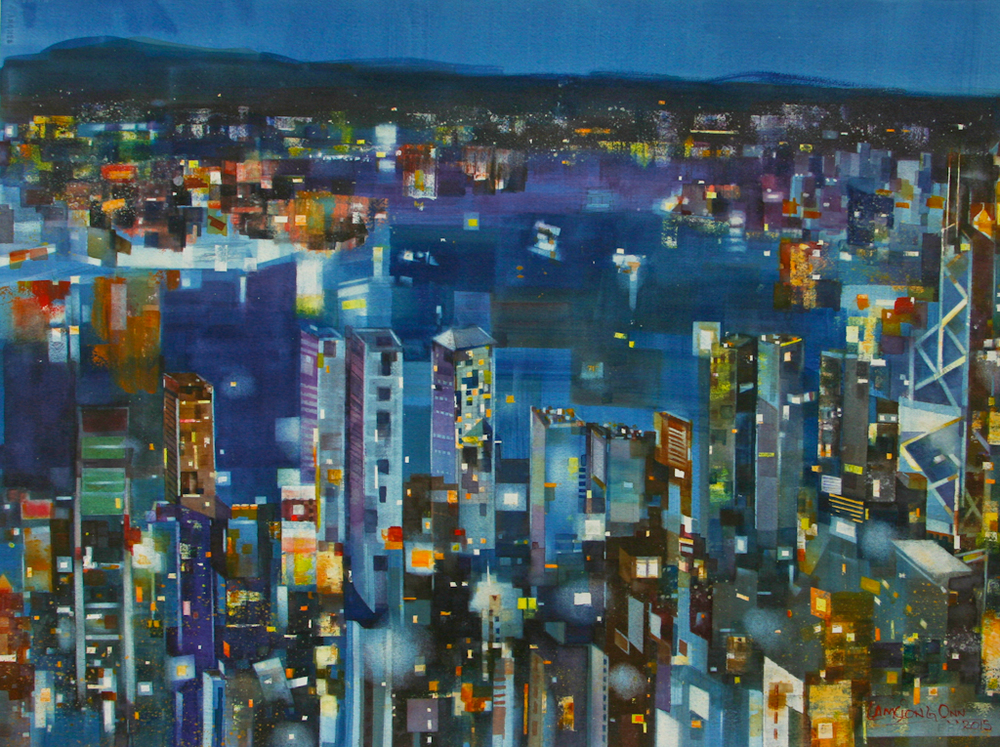 Harbour at Night,   2015, 56 x 76 cm