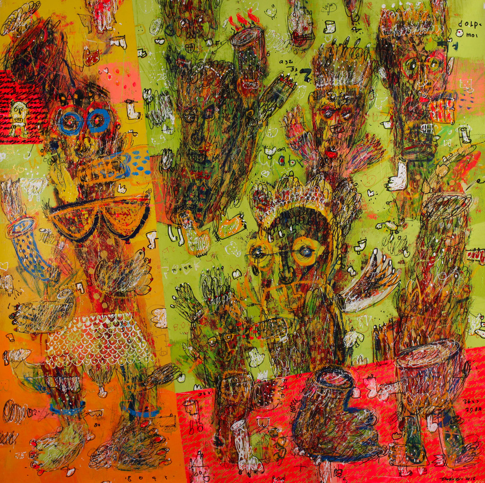 Dedy SUFRIADI,  Beauty and The Beast , 2015, Mixed media on canvas, 150 x 150 cm