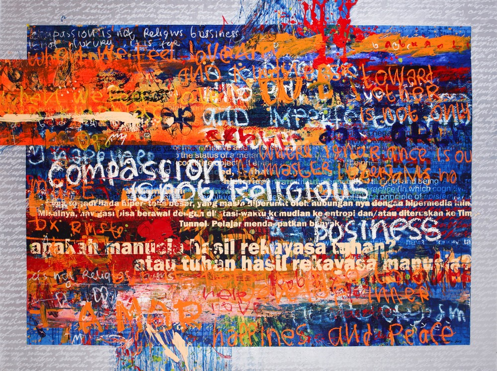 Dedy SUFRIADI,  Messages #1 , 2015, Mixed media on canvas, 150 x 200 cm