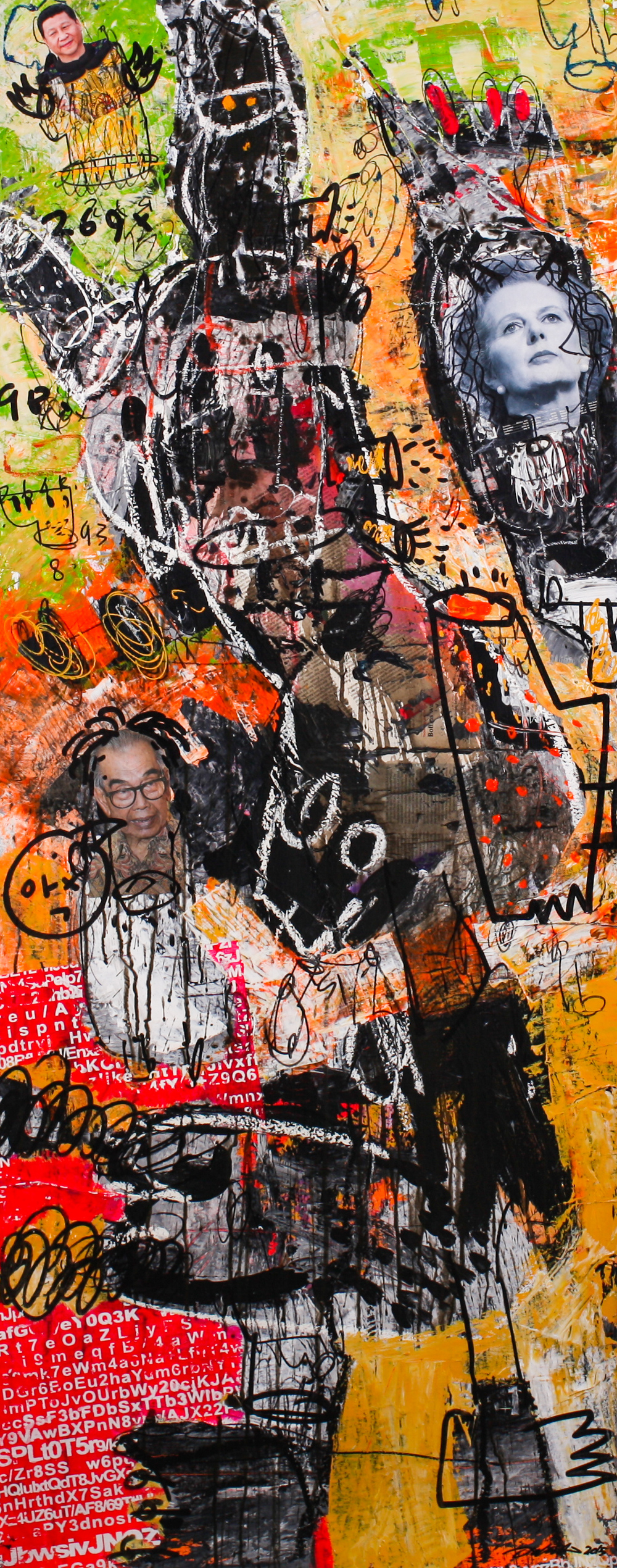 Dedy SUFRIAD,  People   #1 , 2015, Mixed media on canvas, 150 x 60 cm
