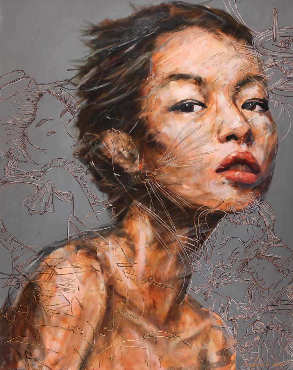 Nugroho WIJAYATMO,  Oriental #8 , 2015, Acrylic on canvas, 150 x 120 cm