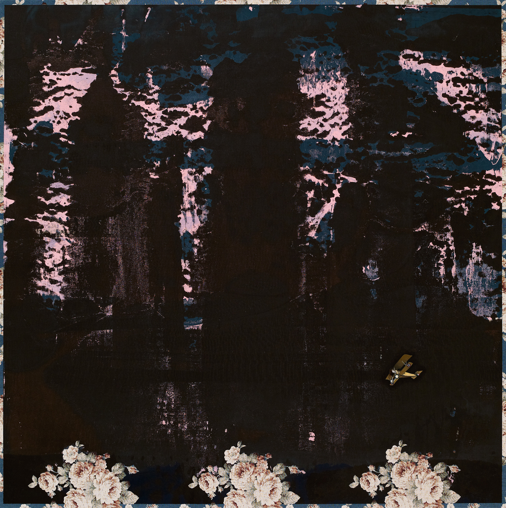 Converge | 匯流, 2015, Oil and Acrylic on Printed Fabric, 95 x 95 cm, CHI Chien