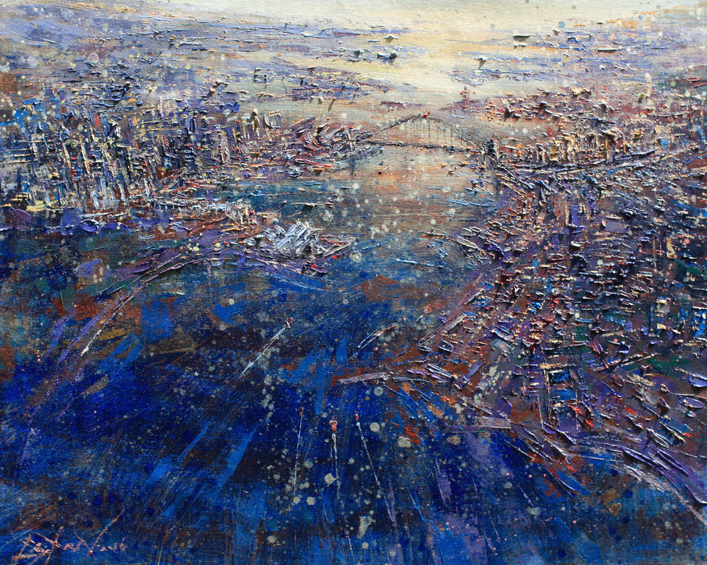 Sydney Harbour , 2016, Oil on Jute, 120 x100 cm, Eston Tan