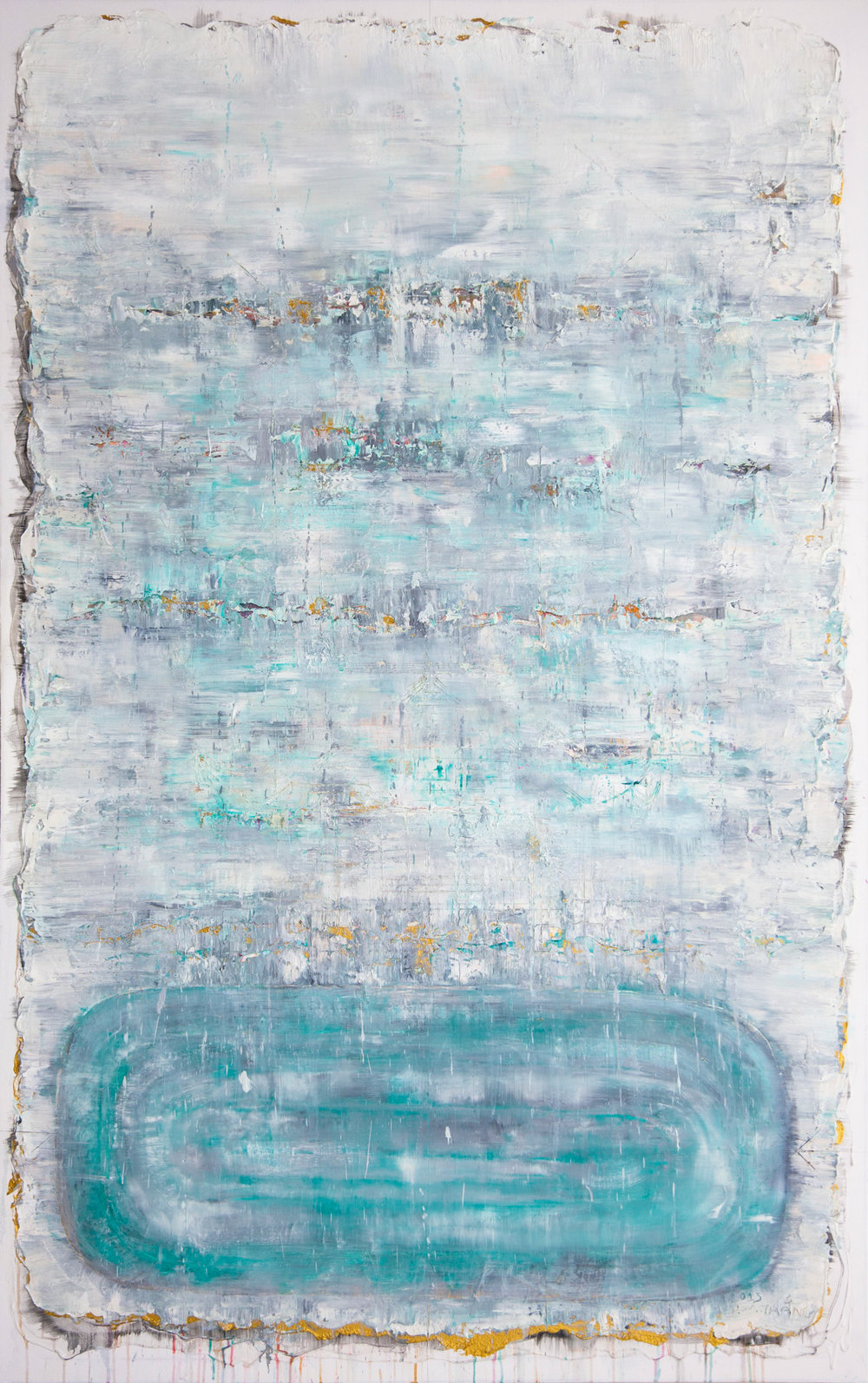 Lake At Changing Season, 2015, Oil, Acrylic and Charcoal on Canvas, 185 x 120 cm, HA Manh Thang
