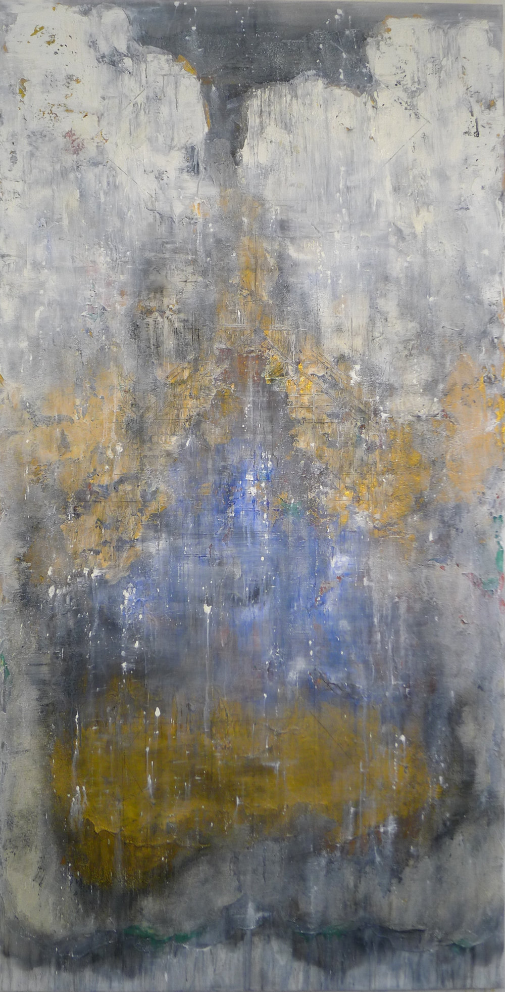 The Golden Light #8 , 2016, Oil, Acrylic, Acrylic Medium and Charcoal on Canvas, 195 x 110 cm