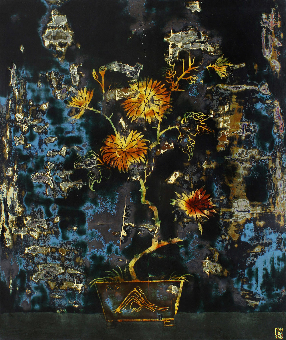 Bloom at Night , 2015, Lacquer on wood panel, 60 x 50 cm
