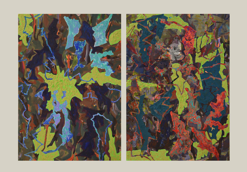 Mask And Double Play , 2017, Oil and Acrylic on Canvas, Diptych 100 x 70 cm (each)