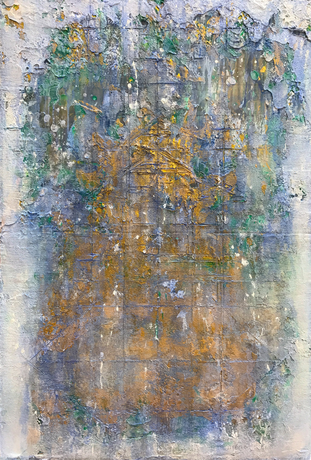 Early Winter Morning #3, 2017, Oil and Acrylic on Silk and Canvas, 97 x 70 cm, HA Manh Thang