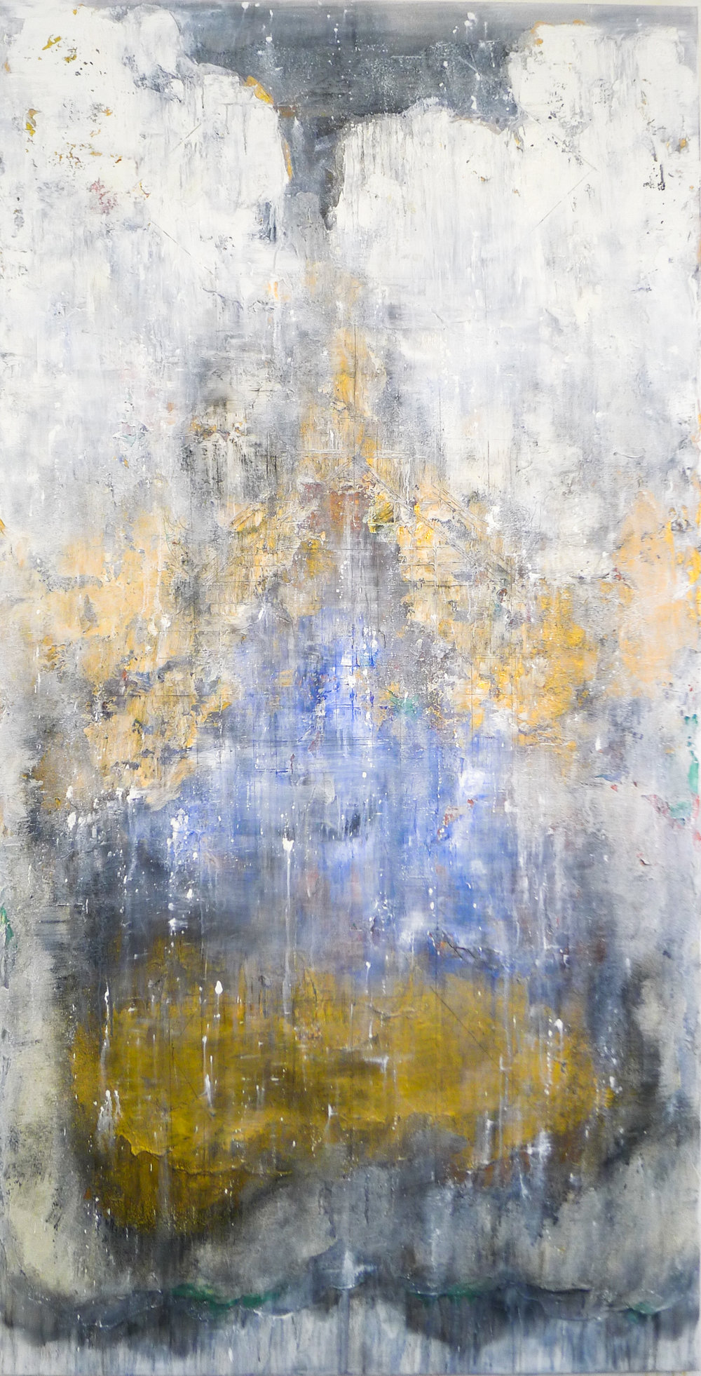 The Golden Light #8, 2016, Oil, Acrylic, Acrylic Medium and Charcoal on Canvas, 195 x 110 cm, HA Manh Thang