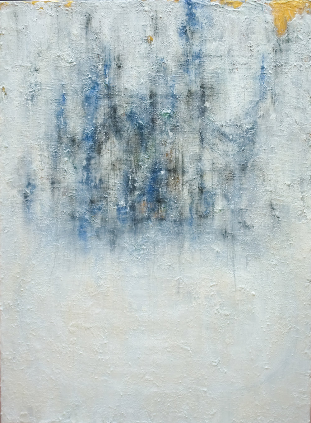 HA Manh Thang, Foggy Days At The Lake #3, 2017, Acrylic, Oil, Charcoal and pencil on Canvas, 150 x 110 cm
