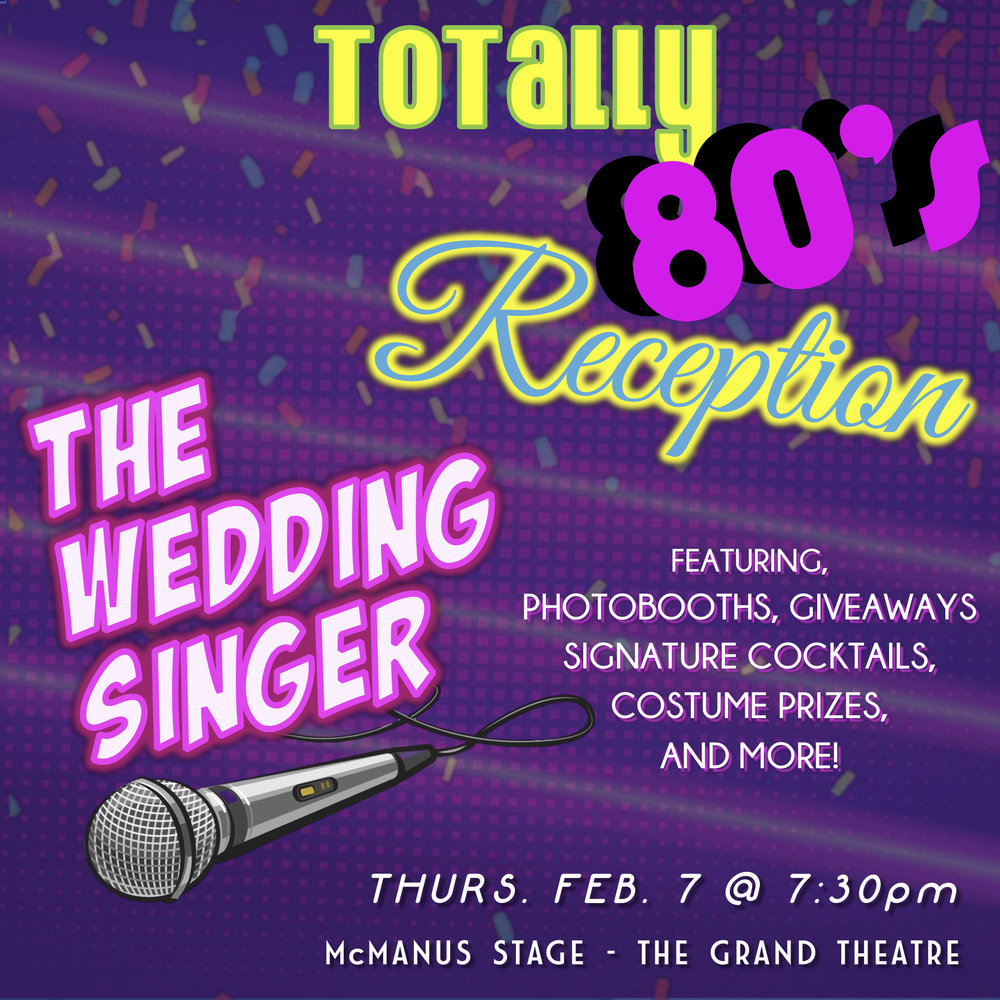 Join us on   #ThrowbackThursday   Feb. 7th for a   Totally80sReception   at THE WEDDING SINGER! Dress up in your finest 1980s formal wear! We want to see lots of poofy skirts, big hair and ruffly shirts! Prizes will be awarded to the best costume. Fight to catch the bouquet, try one of our signature cocktails, flirt with the best man, and win free giveaways! Plus don't forget to visit our photobooths to document all of the fun!