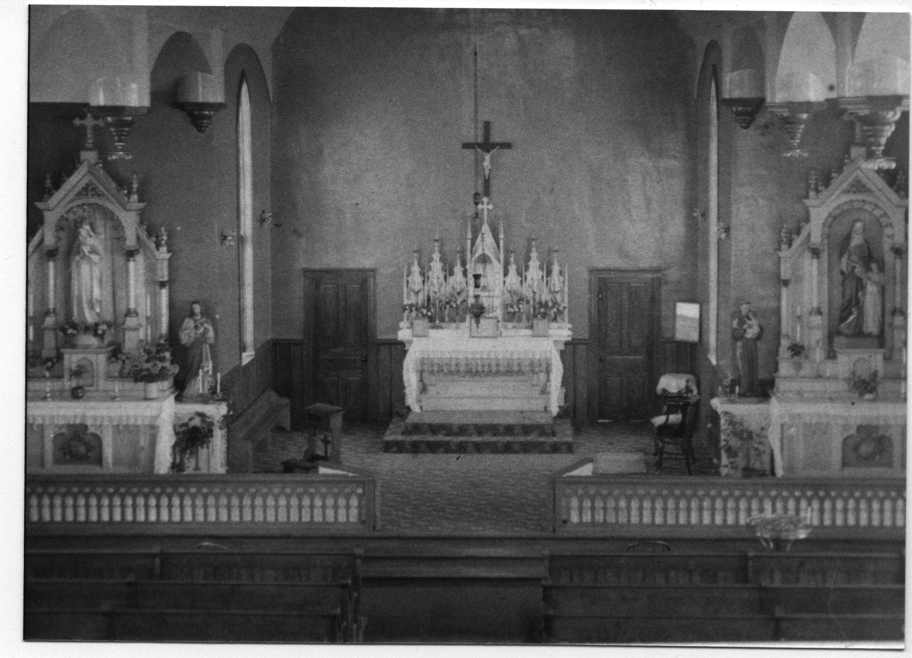Main Altar carved by Father Antoine Rezek for St. Fidelis. Later moved to second church.