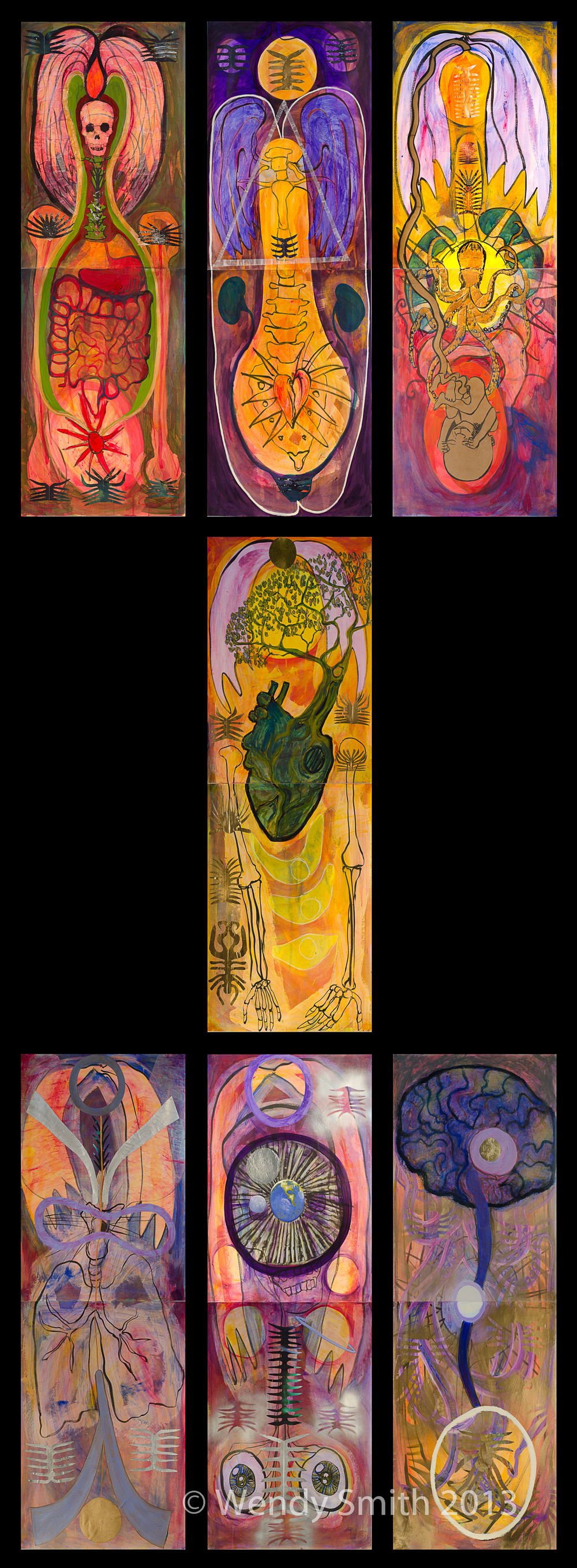 "1st Chakra, 2nd Chakra, 3rd Chakra, 4th Chakra, 5th Chakra, 6th Chakra, 7th Chakra Each Diptych - 22"" x 60"" - Acrylic, ink, collage, metallic paint"