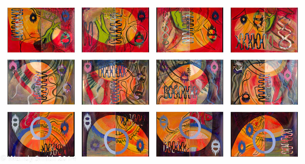 "Set E - Heart 1, Heart 2, Heart 3, Heart 4  Set F - Our Breath 1, Our Breath 2, Our Breath 3, Our Breath 4  Set G - Circle 1,  Circle 2, Circle 3, Circle 4  Each Diptych - 22"" x 15"" - Ink, acrylic, collage"