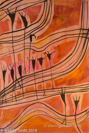 """Inside the Brain - Set Three #1 -26"""" x 40"""" - Mixed Media - ink, acrylic paint"""
