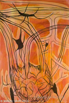 """Inside the Brain - Set Three #2 -26"""" x 40"""" - Mixed Media - ink, acrylic paint"""