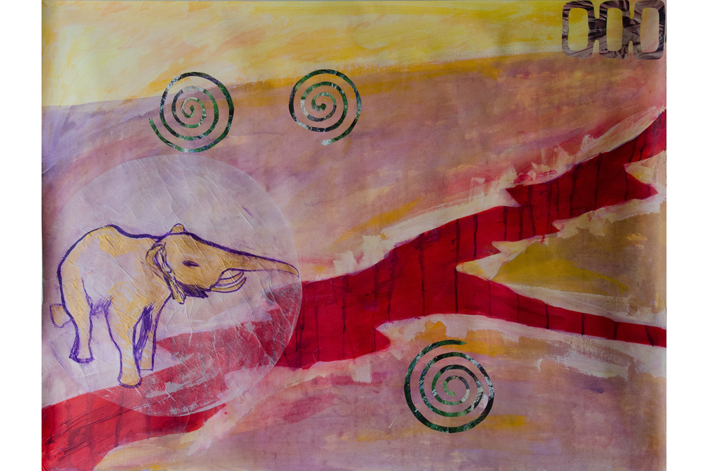 "Element Disaster Series - Earthquake 38"" x 50"" Acrylic, collage, metalic paint, tracing paper"