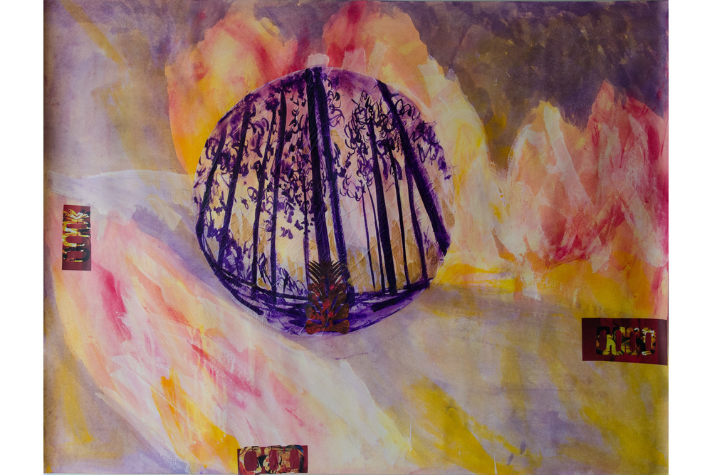 "Element Disaster Series - Fire  38"" x 50"" Acrylic, collage, metalic paint, tracing paper"