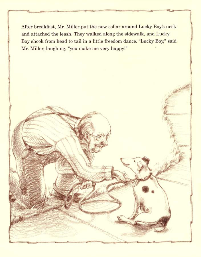 an illustration from  Lucky Boy . Boase is the book's author and illustrator.