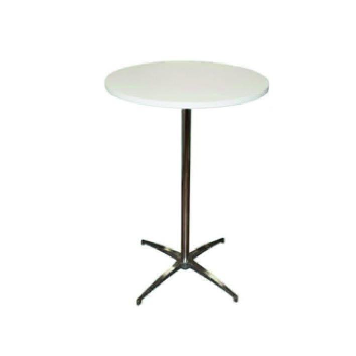 Ståbord, runt, vitt Längd: 80 cm Bredd: 80 cm Höjd: 110 cm Pris: 450 kr