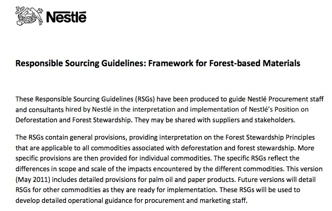 Nestle's Responsible Sourcing Guidelines: Framework for Forest-based Materials (Downloaded 29.12.12)