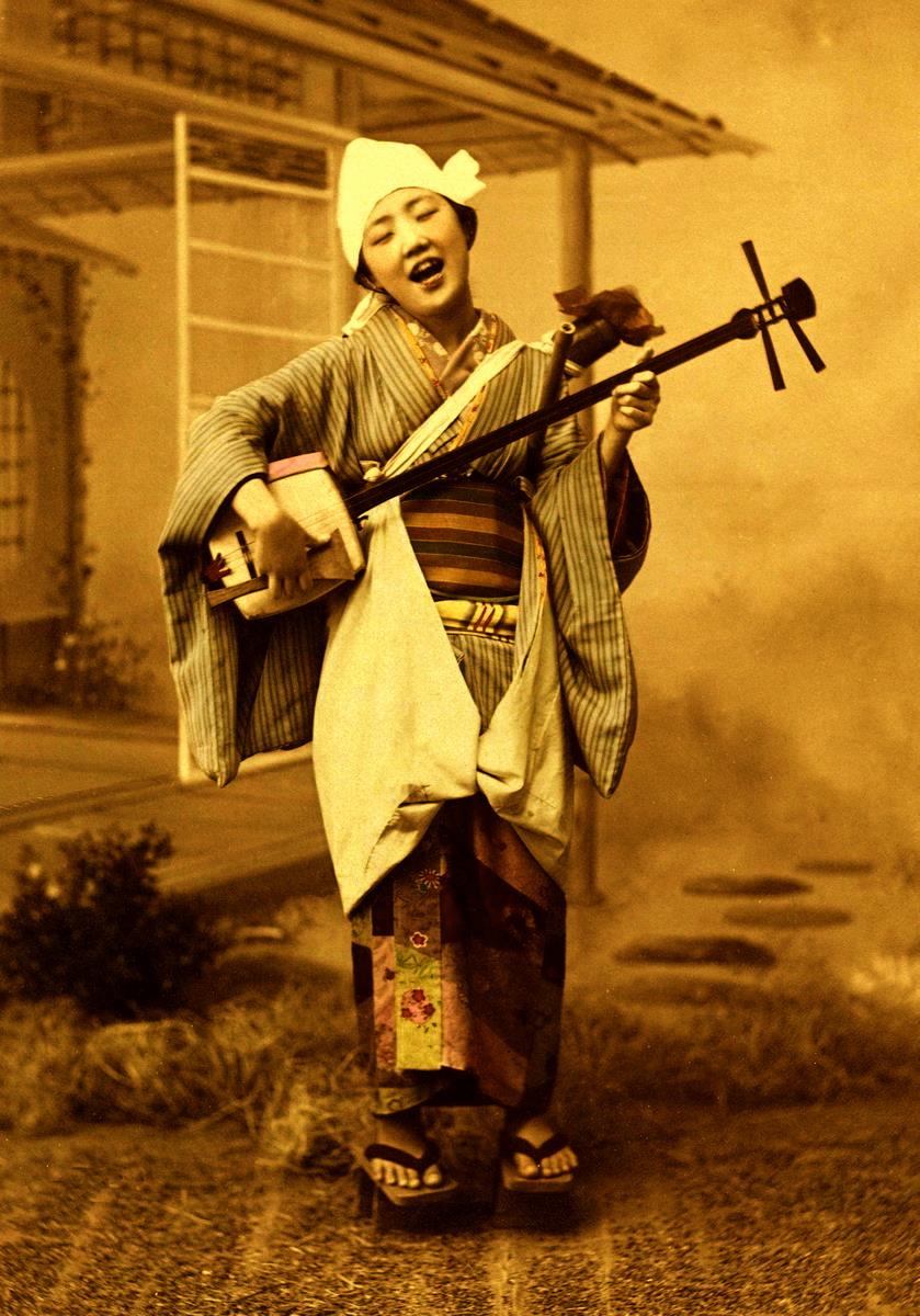 Foghorn Fujiko - A friendly geisha pretends to be a blind itinerant minstrel.