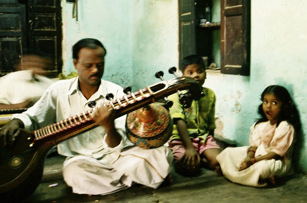 Veena maker at his place, Thanjavur, 2003
