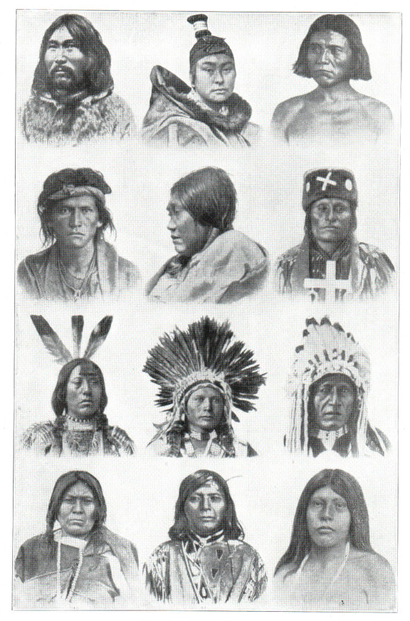 Natives of North America. Inuit of Labrador, Inuit woman of Greenland, Apache, Navaho, Koshimo woman (Vancouver), Cheyenne, Mandan, Ute, Blackfoot, Woman Moki chief, Nez Percé, Wichita woman. 1914