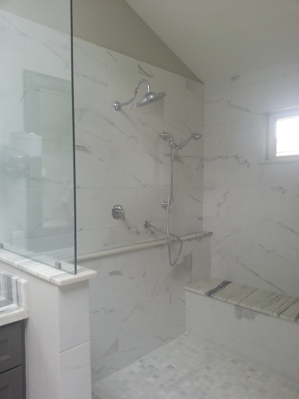 The master shower complete.