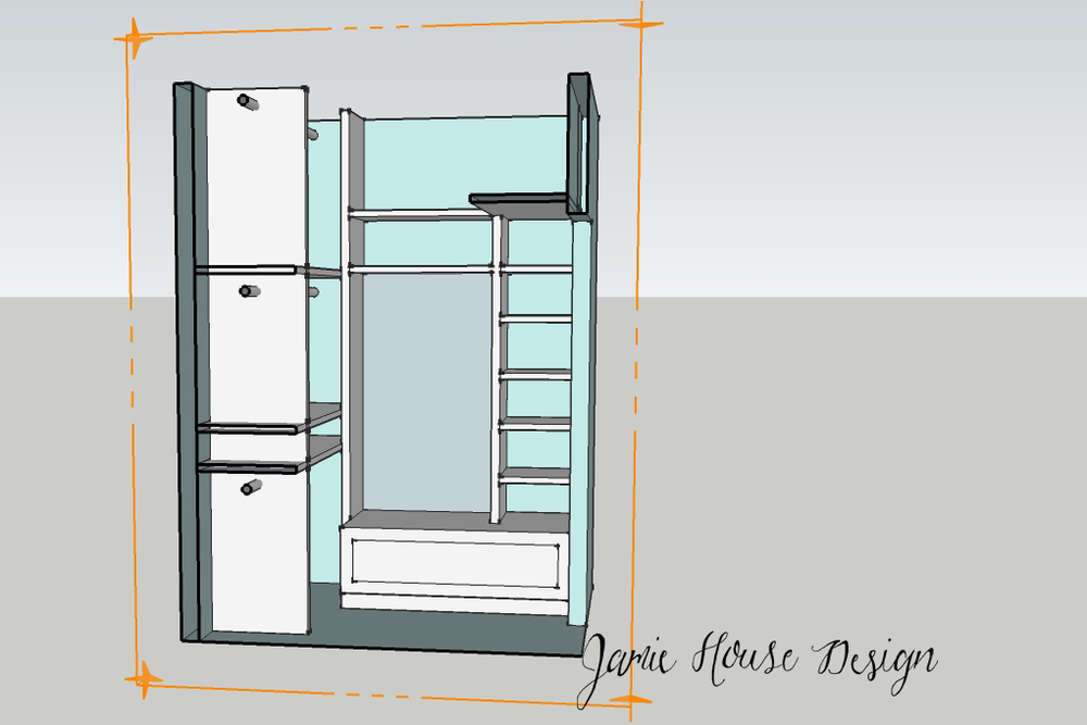 Closet rendering elevation- Jamie House Design