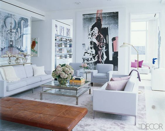 [A well curated art collection via  Elle Decor ]